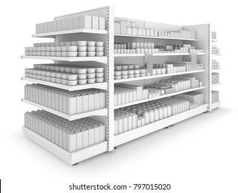 Shelves gondola rack with blank goods in the store. Set of 3d images isolated on white.