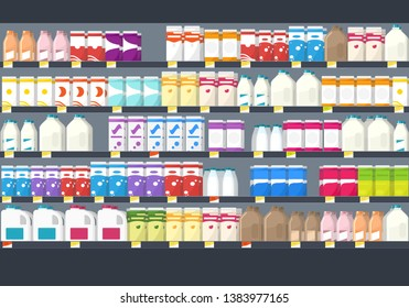 shelves with goods in grocery store. Clipart image