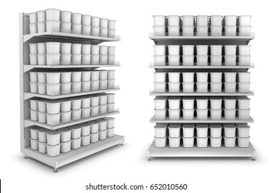 Shelves with packages in the supermarket. A set of 3d images. Isolated on white.