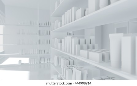 shelves and  wall background. For product display. Pharmacy store drugs shelves interior blurred background. Pharmacy blurred background. 3d illustration