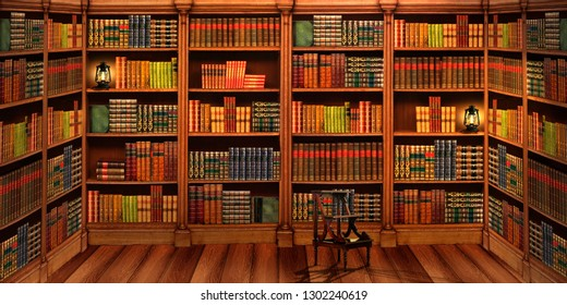 Shelving with books. Library. Stepladder library. Collection of books. Space expansion