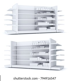 Shelving cabinet in the store is half full. Blank packing of goods. 3d illustration
