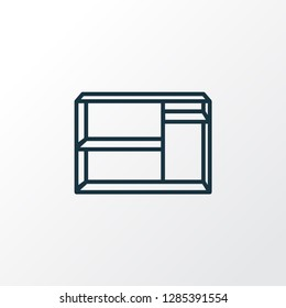 Shelving unit icon line symbol. Premium quality isolated dresser element in trendy style.