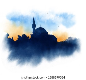 The Shemsi Ahmed Pasha Mosque was built in 1580, Istanbul, Turkey. Watercolor sketch