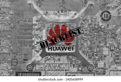 Shenzhen, China - May 21st 2019: Huawei blacklisted by Google, Intel, Microsoft companies, etc. Illustration of gray colored, old and cracked chipset with blended Huawei logo and blacklist letter.