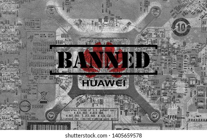 Shenzhen, China - May 21st 2019: Huawei blacklisted by Google, Intel, Microsoft companies, etc. Illustration of gray colored, old and cracked chipset with blended Huawei logo and BANNED letter.