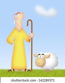 Shepherd with his cute sheep.
