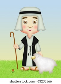 Shepherd holding staff with sheep.