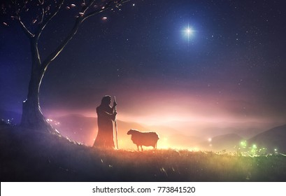 A shepherd watching his sheep under the star of Bethlehem. 3D illustration
