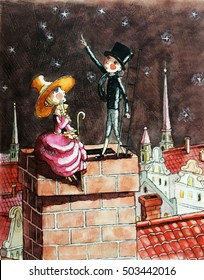 shepherdess and the chimney sweep sitting on the roof of the house, the starry sky, watercolor