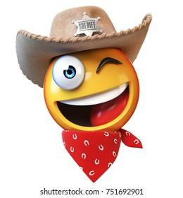 Sheriff emoji isolated on white background, cowboy emoticon 3d rendering