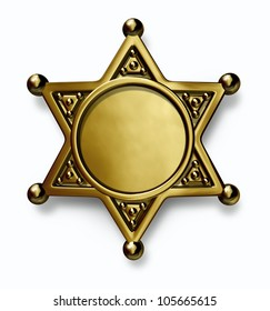 Sheriff and police brass or gold metal badge with blank center as a symbol of security and law enforcement on a white background.