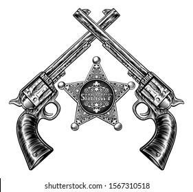 A sheriff star badge and pair of crossed hand gun pistols drawn in a vintage retro woodblock etched or engraved style