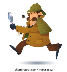 A Sherlock Holmes style investigator cartoon character running and looking at clues through a magnifying glass.