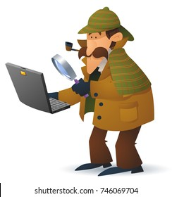A Sherlock Holmes style investigator cartoon character looking at laptop through a magnifying glass.