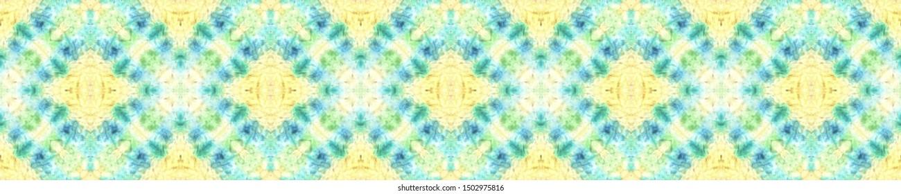 Shibori Flowers. Asian Backdrop.  Blue and Yellow Textile Print. Rainbow Natural Ethnic Illustration. Shibori Art Flowers Motif.