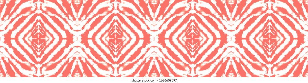 Shibori Print. Acrylic Graphic. Watercolor Artwork. Bohemian Abstract Style. Artistic Bohemian Ornament. Coral,Red,White Shibori Ethnic Ornament. Mess Shibori Print.
