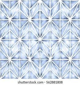 Shibori style watercolor illustration with a modern geometric pattern. Seamless pattern.