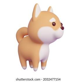Shibu Ina chien isolé sur fond blanc. Rendu 3d