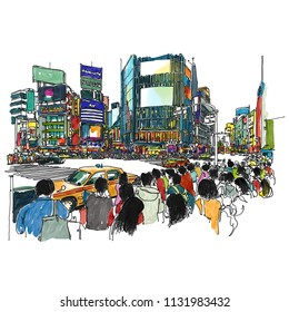 Shibuya neighborhood Tokyo Japan, Sketchbook Illustration design.