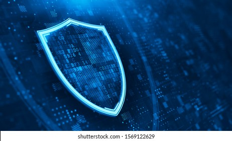 Shield. Abstract wireframe vector illustration on dark blue. Protect and Security concept. Digital Shield on abstract technology background. 3d rendering