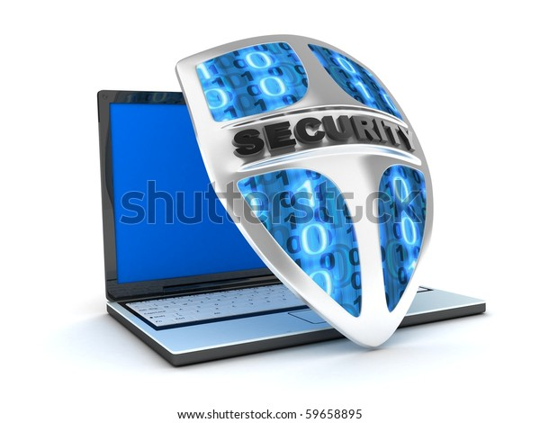 Shield antivirus and laptop, abstract (done in 3d)