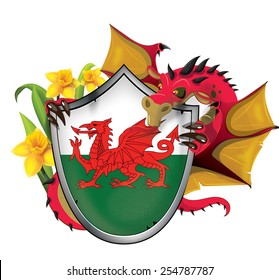 A shield of the flag of Wales