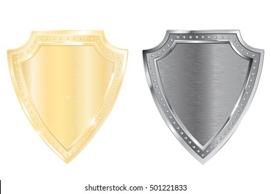 Shield. Golden and silver. 3d illustration isolated on white background. Raster version