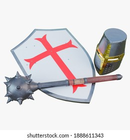 Shield, mace and helmet, equipment of the knight crusader, isolated on white background. 3D render.