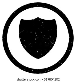 Shield rubber seal stamp watermark. Icon glyph symbol with grunge design and corrosion texture. Scratched black ink sign on a white background.