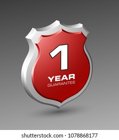 Shield with a text guarantee one year icon. Warranty 1 year Label obligations. Safeguard shield sign. Protect promise reliability badge. Security guaranteed shield illustration