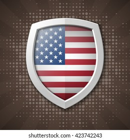 Shield with USA Independence Day icon. Protect privacy Illustration, badge icon. Banner presentation the fourth of July. United States of American President holiday. Veterans Day