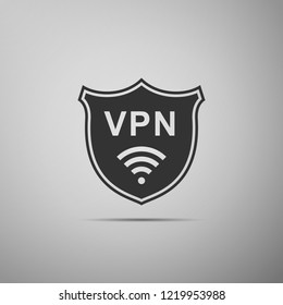 Shield with VPN and WiFi wireless internet network symbol icon isolated on grey background. VPN protect safety concept. Virtual private network for security. Flat design