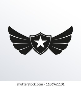 Shield with wings and star. Winged logo template.  Air force badge, army, military and aviation emblem.