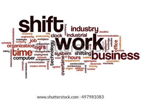 shift work word cloud concept stock illustration 497981083