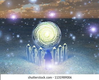 The shifters bring their focus on the time swirl. 3D rendering