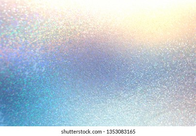 Shimmer abstract pattern. Yellow blue cristals background. Spectrum light stroke. Brilliance glitz texture. Diamond bright sparkles illustration. Winter holiday iridescent backdrop. Glitter decor.