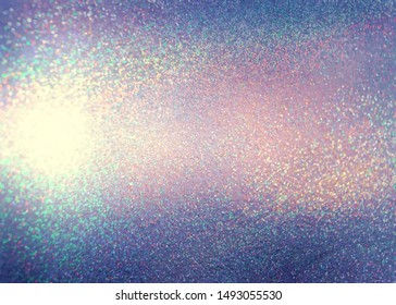 Shimmer blue pink silver abstract texture. Sparkles festive background. Brilliance illustration. Amazing glitter hologram pattern.