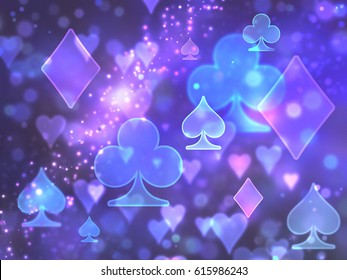 Shimmering abstract pattern of the symbols of the playing cards...