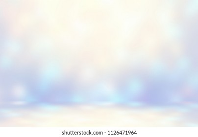 Shimmering highlights on wall and floor abstract template. New Year party decoration studio interior 3d illustration. White, blue, violet magical empty room. Iridescent flares blurred texture.
