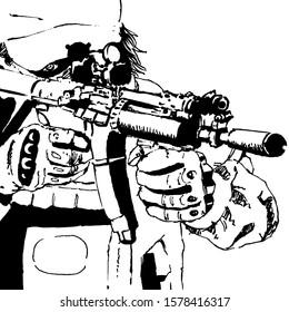 Shin cancer war Gunfight Gun survival suit