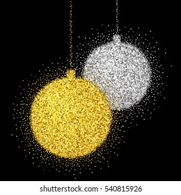 Shine gold and silver ball with glitter on black background. Christmas decoration with sparkling light effect. New Year Holiday toys for festive banner, greeting card, invitation.