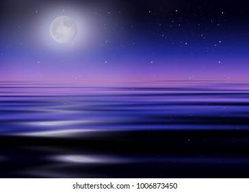 Shine side of the moon over the water, tale, magic, background, fantasy landscape, starry sky, beautiful night sunset, 3D illustration