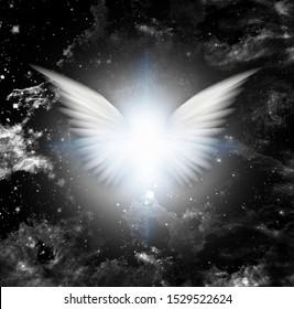 Shining angel's wings or star. 3D rendering