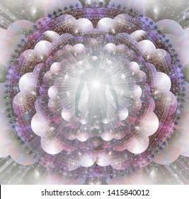 Shining aura and rays of light. Mandala. 3D rendering