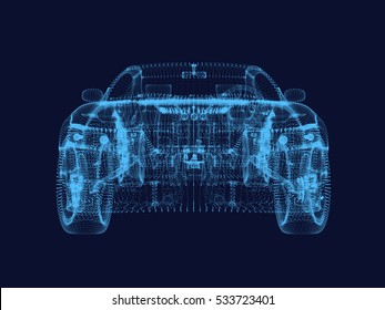 shining dots of Car 3d model.3D rendering.