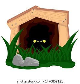 Shining eyes in a deep mine shaft with grass and stone.