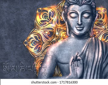 Shining and glowing Buddha in a Lotus Pose - digital art collage combined with on dark background and stylized mandala. Mantra Om mani padme hum in Tibetan langwith .