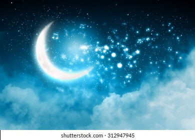 Shining musical notes on a glowing background with moon