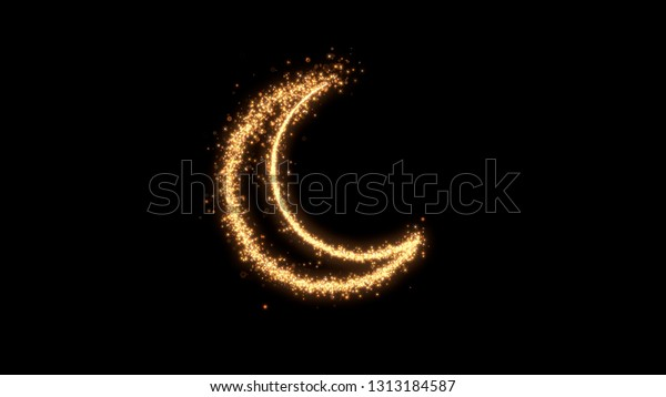 Shining sparkles creating ramadan hilal that can be used as a nice abstract background with your logo or title. Abstract golden crescent.